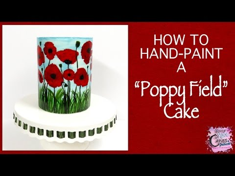 Hand Painted Cake - Poppy Field EASY HOW TO!