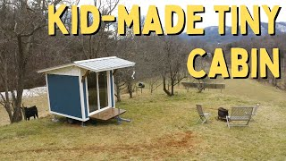 12 Year Old builds EPIC Tiny Cabin