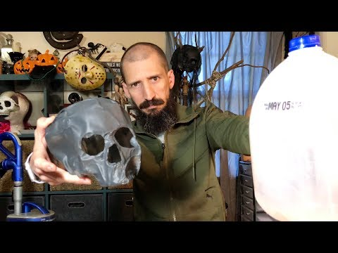 How to make a human skull with milk jugs and a vacuum cleaner