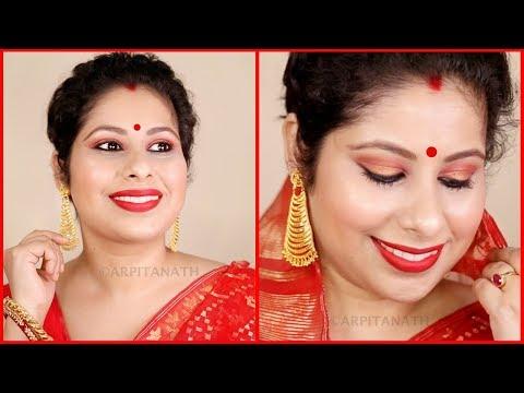 Indian Traditional Bengali Red & Gold Makeup Tutorial    Durga Puja 2017