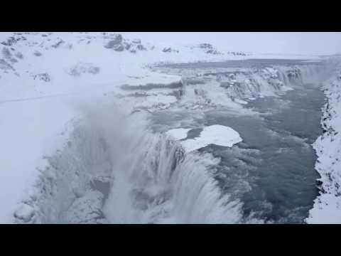 Gullfoss Waterfall in Winter 2016 - Iceland (DJI Mavic Pro video)