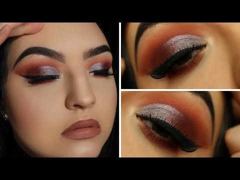 WARM ORANGE/RED SMOKEY HALF CUT CREASE WITH BLUE SHIMMER // ANASTASIA BEVERLY HILLS PRISM PALETTE