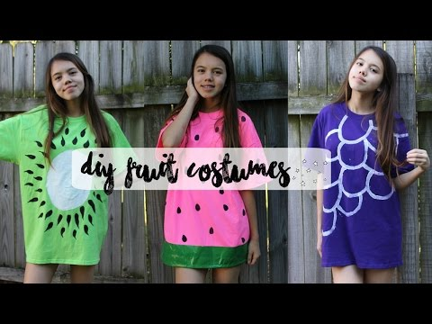 DIY FRUIT HALLOWEEN COSTUMES: Watermelon, Kiwi, and Grapes ♡