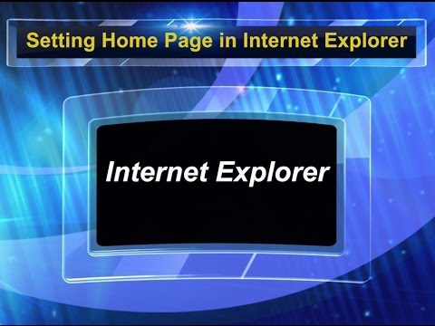 How to set Homepage in Internet explorer?