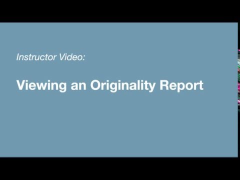 Turnitin Instructor - Viewing an Originality Report