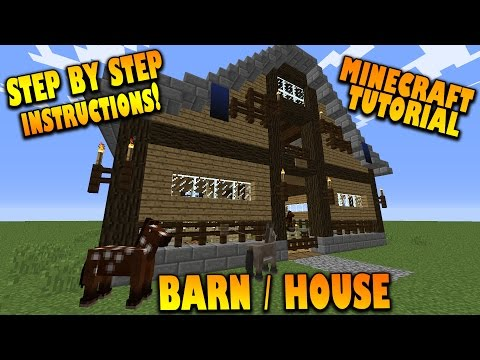 Minecraft: How To Make A Barn / House - Tutorial - (How To Build a Barn/House In Minecraft 1.8)