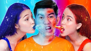 Extreme Hot VS Cold Challenge | Girl on Fire vs Icy Girl Funny Pranks & Funny Situations by T-FUN