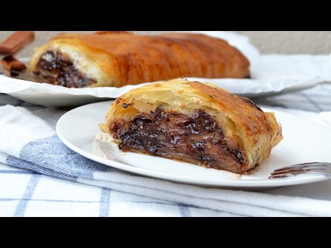 Chocolate Apple Strudel - Easy Apple Strudel Recipe with Phyllo Dough