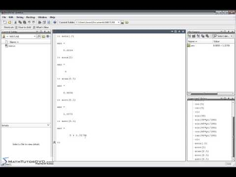 Matlab Essentials - Sect 16 - Trigonometric Functions and their Inverses