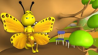 The Lazy Butterflies 3D Animated Hindi Moral Stories Kids आलसी तितलियाँ कहानी Animals Tales