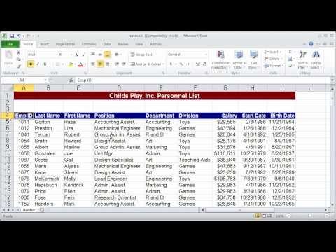 Working with Pivot Tables in Excel 2010 - Part 1