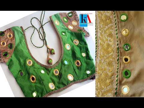 Hand Embroidery : mirror work on saree and blouse embroidery tutorial