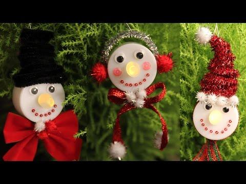 Snowman Tea Light Christmas Ornaments  - Cheap Easy & Cutest Gifts DIY!