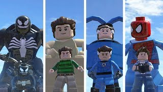 Venom(Transformation),Sandman ,Mister Fantasic,Spider-Man - Lego Marvel Super Heroes Game