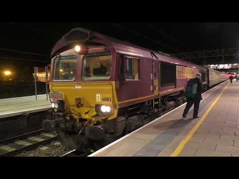 (HD) Colas Rail 56105 & DB Cargo 66183 work Pathfinder tours 'The Fiddlers Five' - Stafford