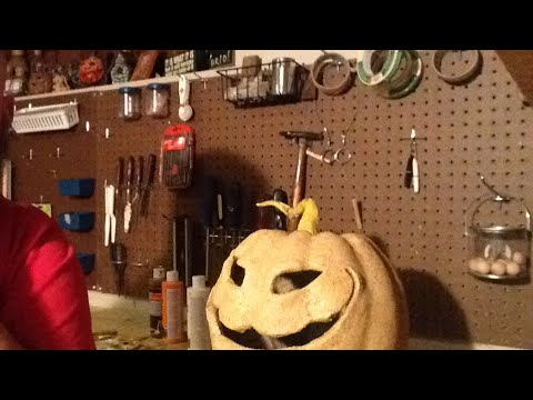 Painting a pumpkin and testing live feed