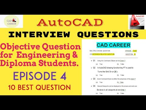 10 AutoCAD Interview Questions and Answers || Exam based Objective Question for Autocad || Episode 4