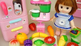 Baby doll fruit refrigerator and juice maker toys baby doli play