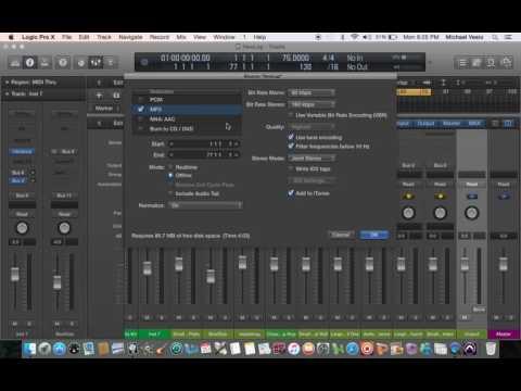 Bounce/Export 2 MP3 WAV & iTunes - Logic Pro X (Tutorial)