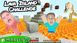 Minecraft LAVA ISLAND Challenge! Parkour Action w/ Knock Back Sticks HobbyPigTv