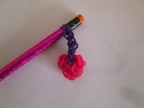 Rainbow Loom Heart Dangle Pencil Topper or Hugger Charm. Valentine's Day. Easy.