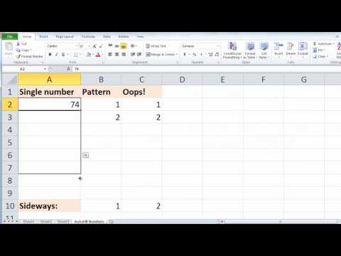 Excel 2010 - Auto Fill Numbers