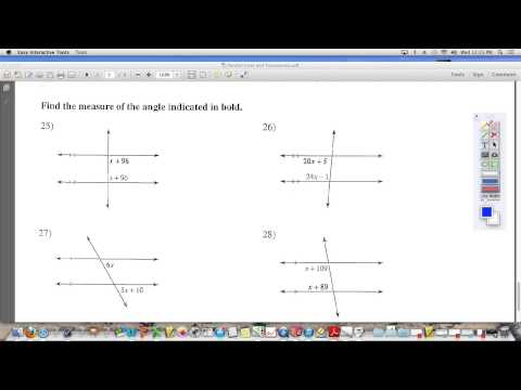 Parallel Lines and Transversals (find angle measures)