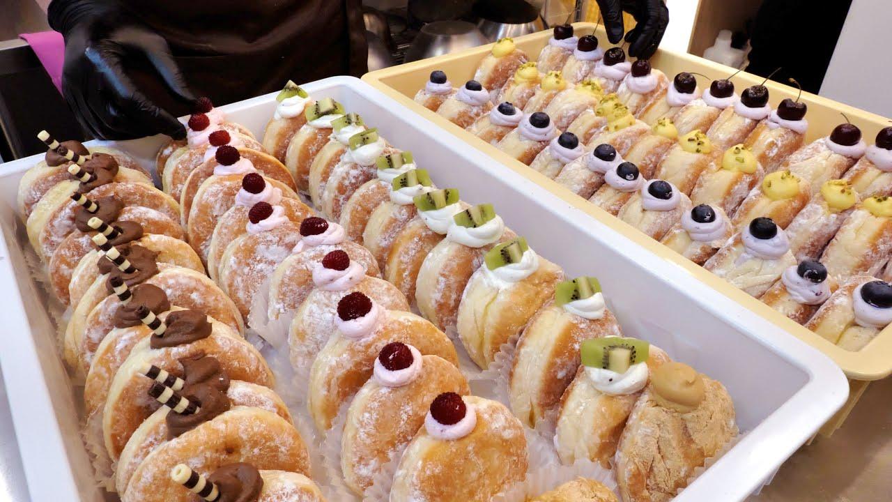 촉촉해! 촉촉해! 당일생산, 판매! 최고급 재료로만 만드는 6가지 빵도넛   6 kinds of Whipped Cream Doughnut   Korean  Dessert