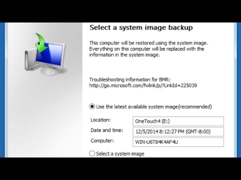Restoring from a System Image Backup in Windows 7