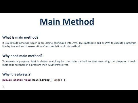 What is Java Main Method