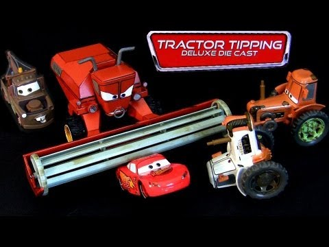 Disney Cars Tractor Tipping Deluxe Cast Set Frank 3 Tractors Mater Lightning Mcqueen Pixar Toys