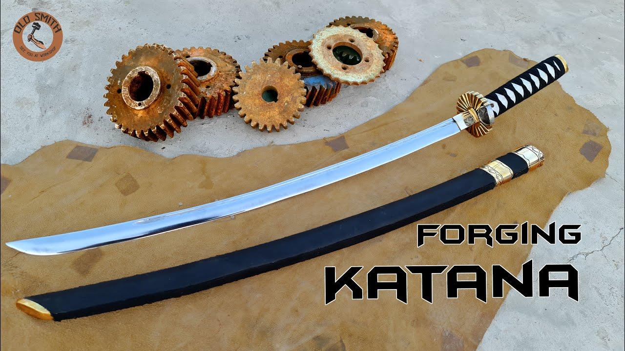 Forging Katana Sword out of Rusty Engine gear