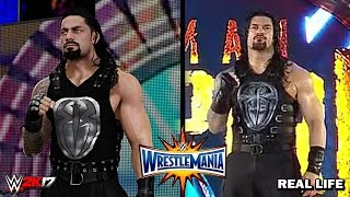 WWE 2K17 vs Real Life - Roman Reigns Wrestlemania 33 Entrance Comparison!