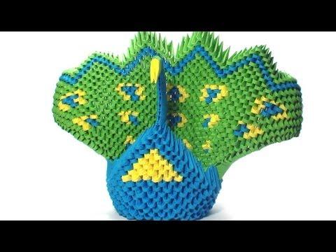 3d origami green peacock tutorial