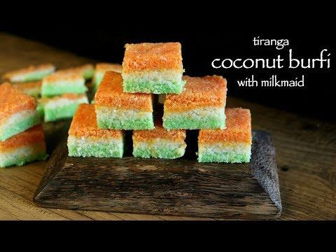 coconut barfi recipe with milkmaid | tri colour coconut burfi or nariyal barfi