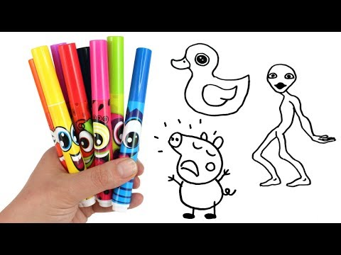 Drawing & Coloring with Surprise Toys Dame Tu Cosita Alien George Pig Paw Patrol Trolls Surprises