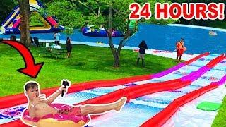 BIGGEST BACKYARD WATER PARK 24 HOUR CHALLENGE!
