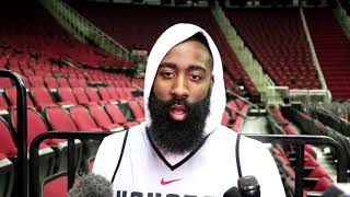 James Harden interview before Game 3 againt the Timberwolves