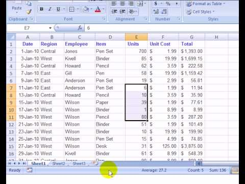 Customize the Excel 2007 Status Bar