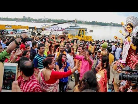 Women dance at Durga Puja immersion at Babughat -Durga Puja 2016