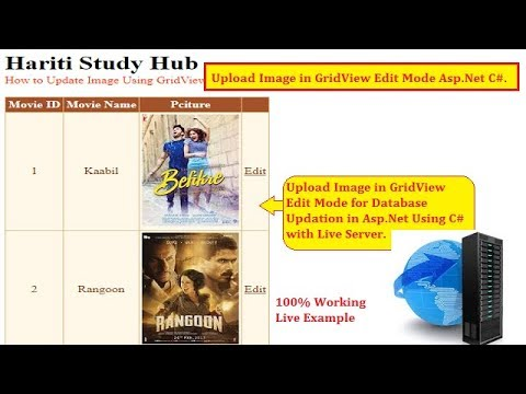 Upload Image in GridView Edit Mode with Live Server Asp.Net C#   Hindi   Free Online Learn Classes