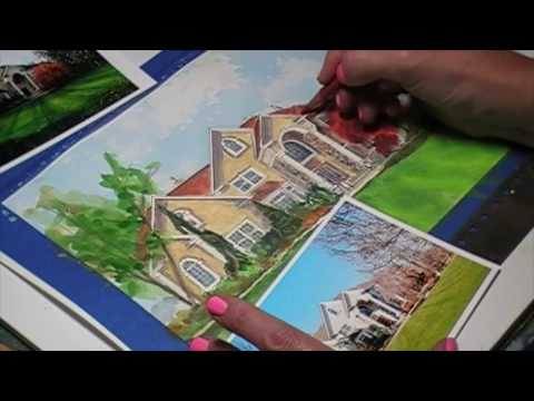 How to draw a house. Watercolor House Portrait in Watercolor.