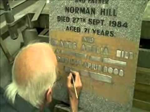 Creating a memorial headstone, Raised Lead Inscription Part 1 By Lidsters of Worksop.wmv