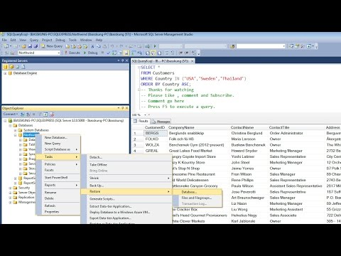 SQL Server 2014 - How to Backup and Restore the Database