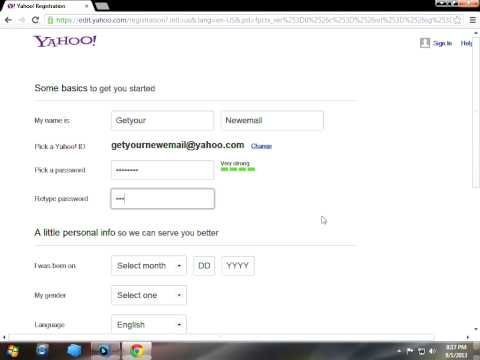 How to create a yahoo email address account