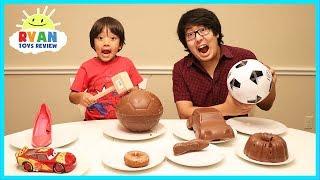 Chocolate Food vs Real challenge with Ryan ToysReview!
