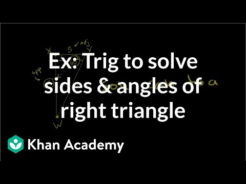 Example: Trig to solve the sides and angles of a right triangle | Trigonometry | Khan Academy
