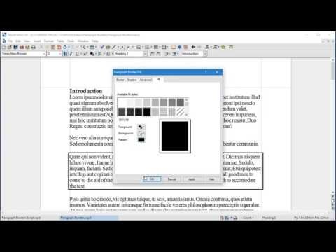 Applying Paragraph Borders and Styles in WordPerfect