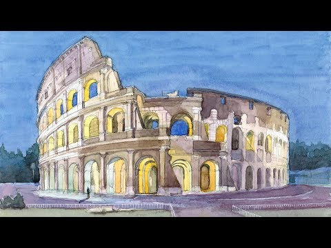 Monuments in Watercolor Ep # 07 Colosseum (Rome, Italy)