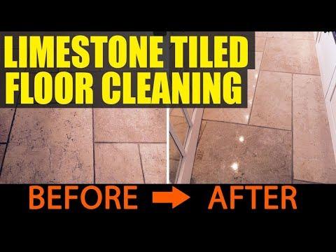 Limestone Tiled Floor Cleaning in Leatherhead